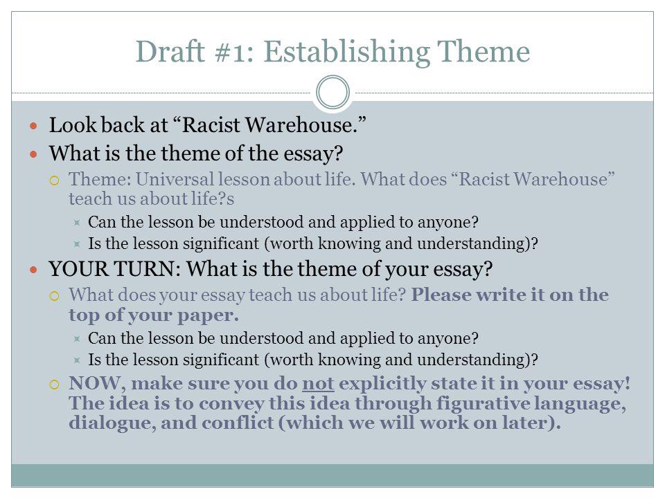 Draft #1: Establishing Theme