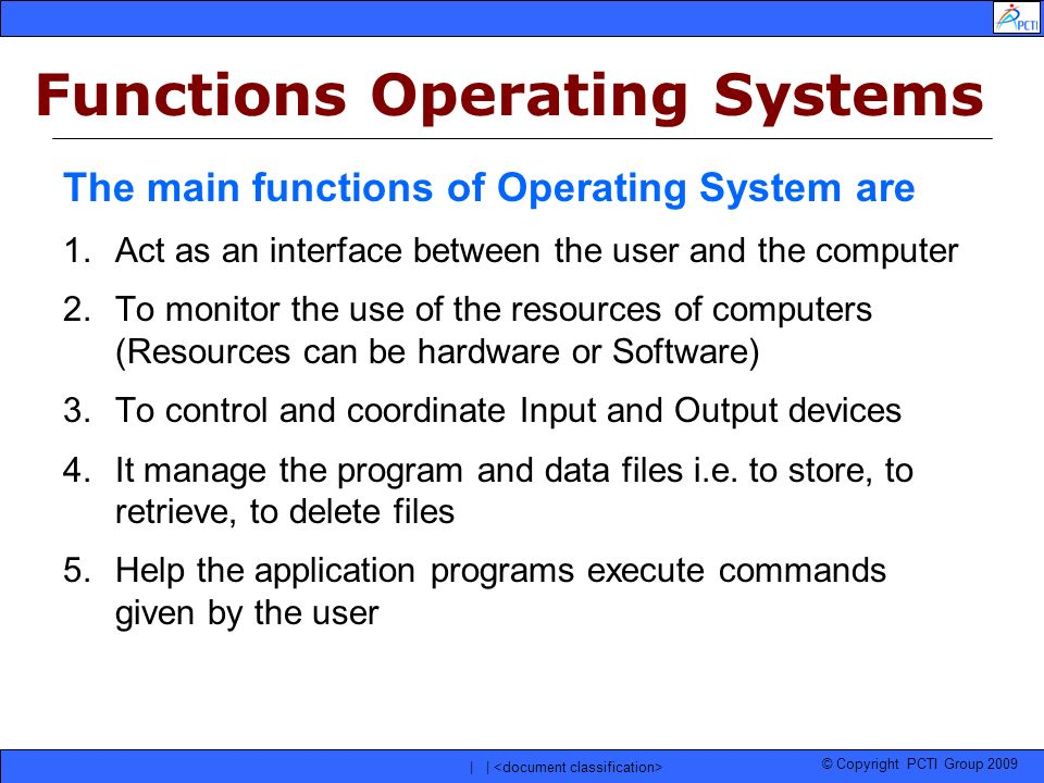 Functions Operating Systems