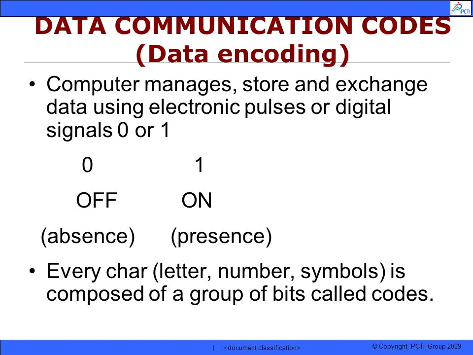 DATA COMMUNICATION CODES (Data encoding)