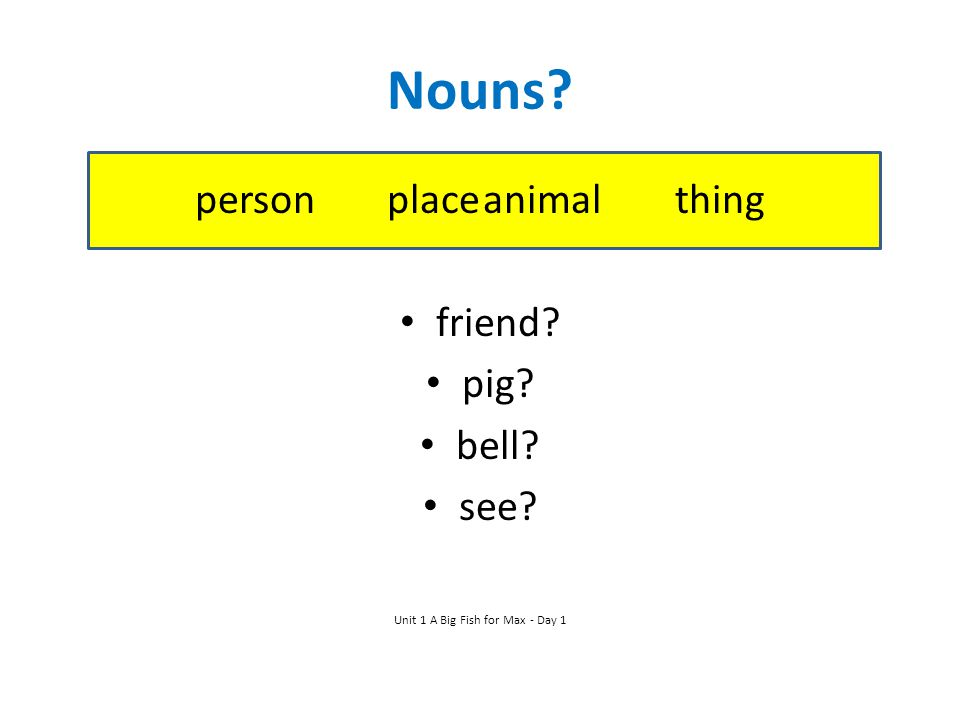 Nouns person place animal thing friend pig bell see