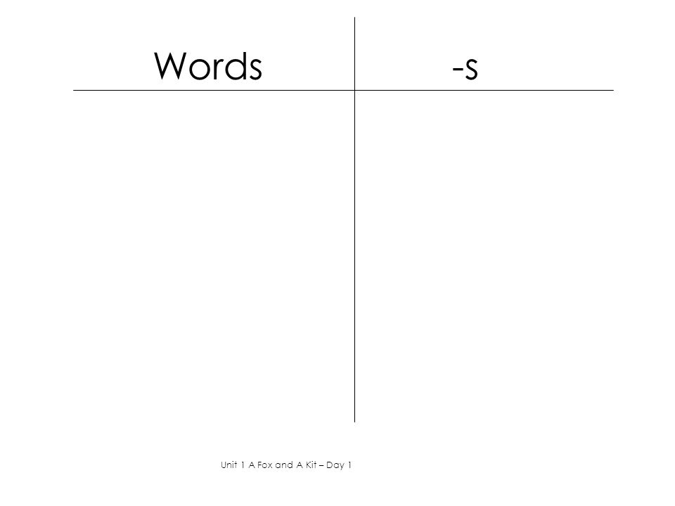 Words -s Unit 1 A Fox and A Kit – Day 1