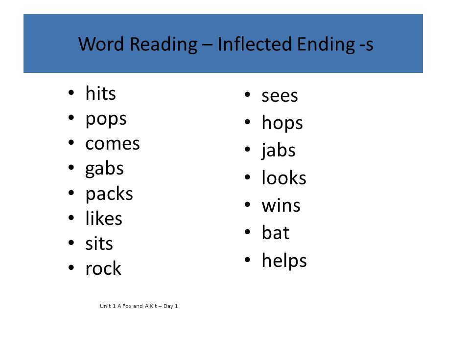 Word Reading – Inflected Ending -s