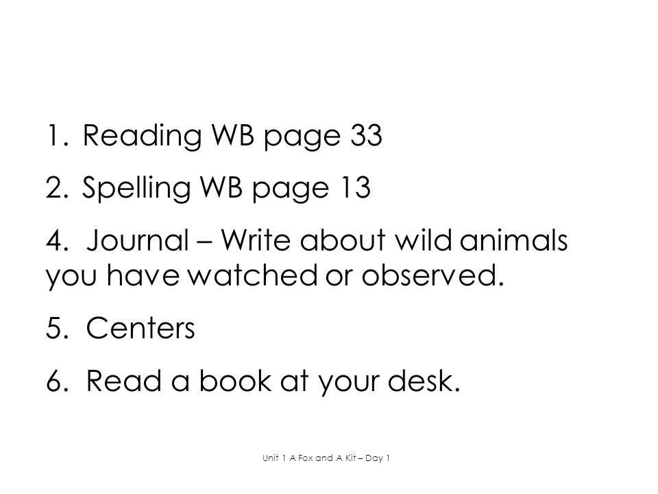 4. Journal – Write about wild animals you have watched or observed.