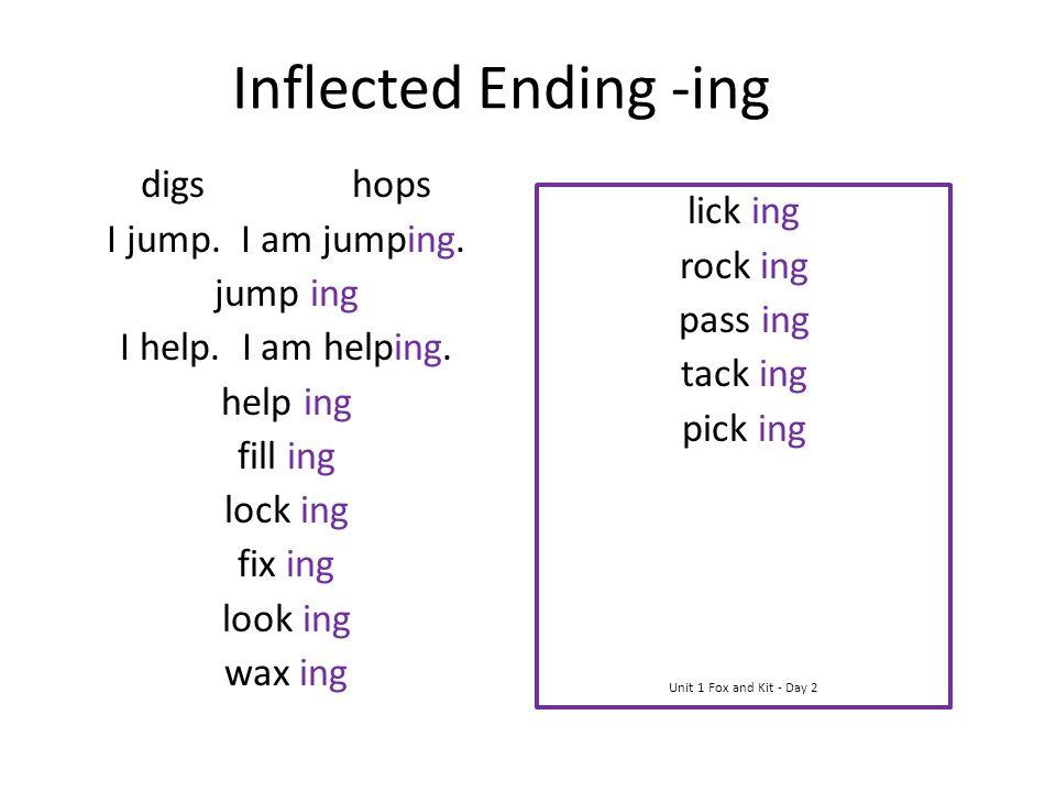 Inflected Ending -ing digs hops I jump. I am jumping. jump ing I help. I am helping. help ing fill ing lock ing fix ing look ing wax ing