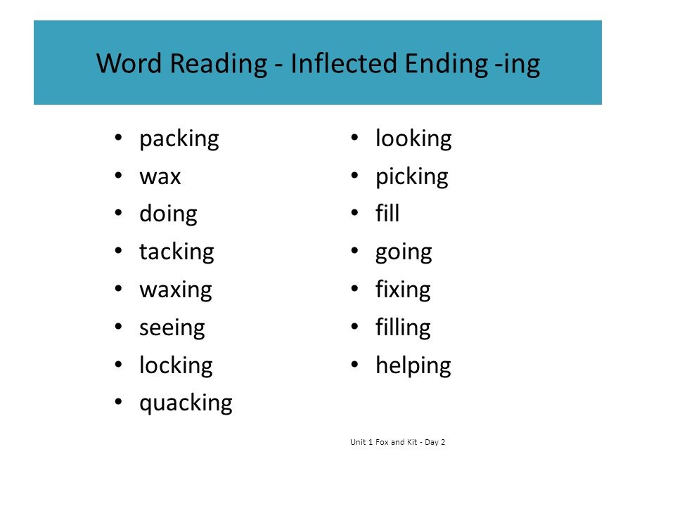 Word Reading - Inflected Ending -ing