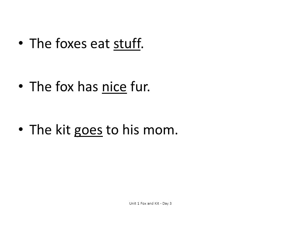 The foxes eat stuff. The fox has nice fur. The kit goes to his mom.