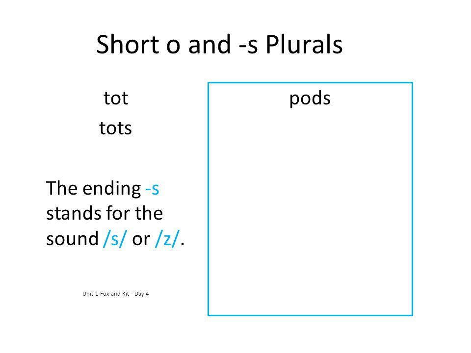 Short o and -s Plurals tot tots