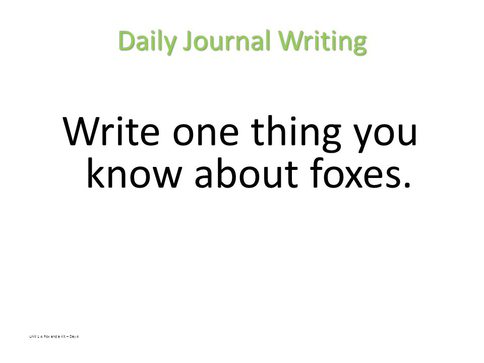 Write one thing you know about foxes.