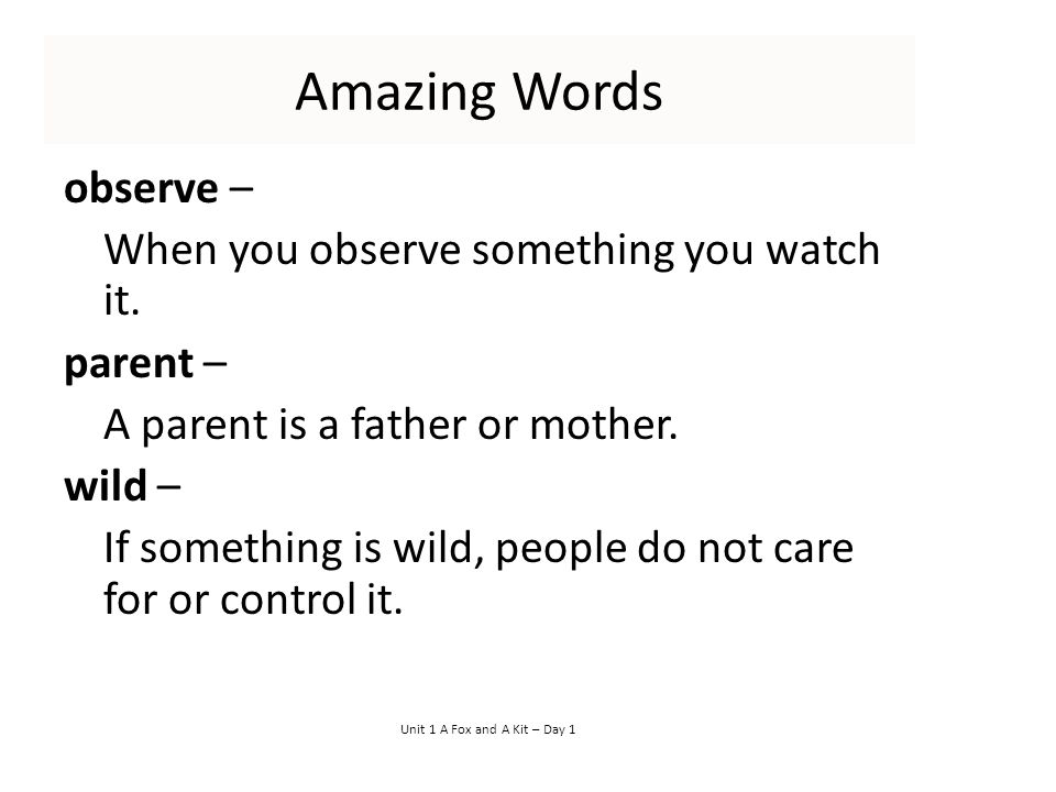 Amazing Words observe – When you observe something you watch it.