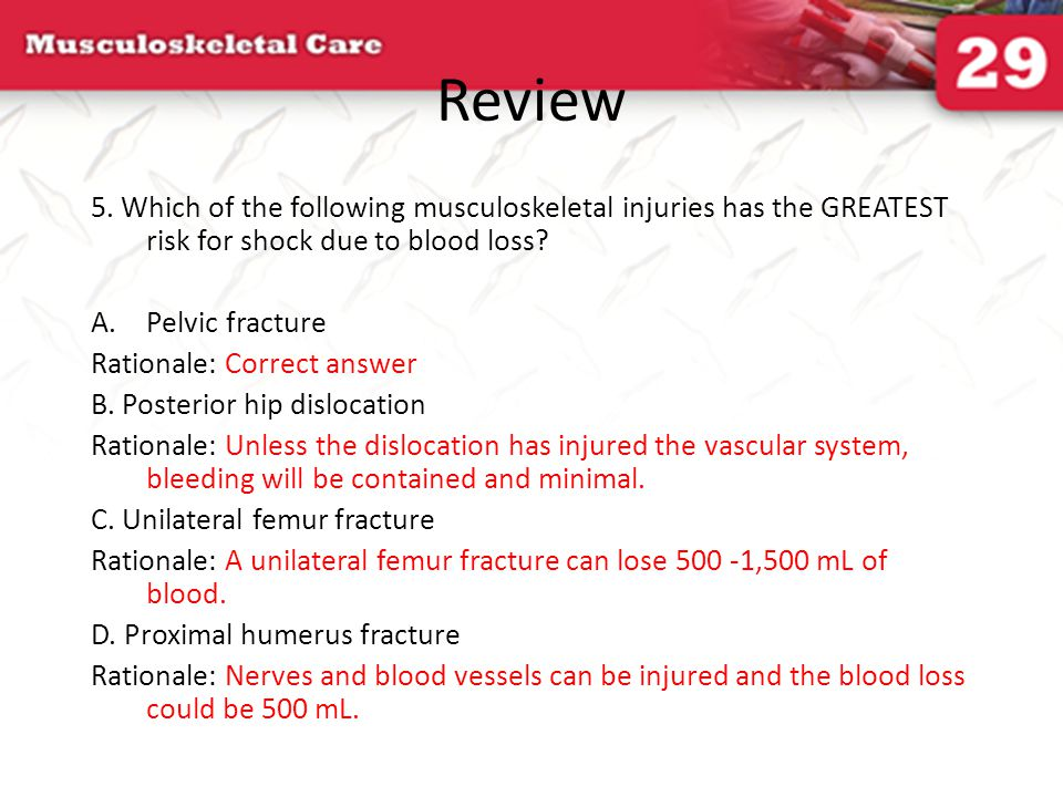 Review 5. Which of the following musculoskeletal injuries has the GREATEST risk for shock due to blood loss