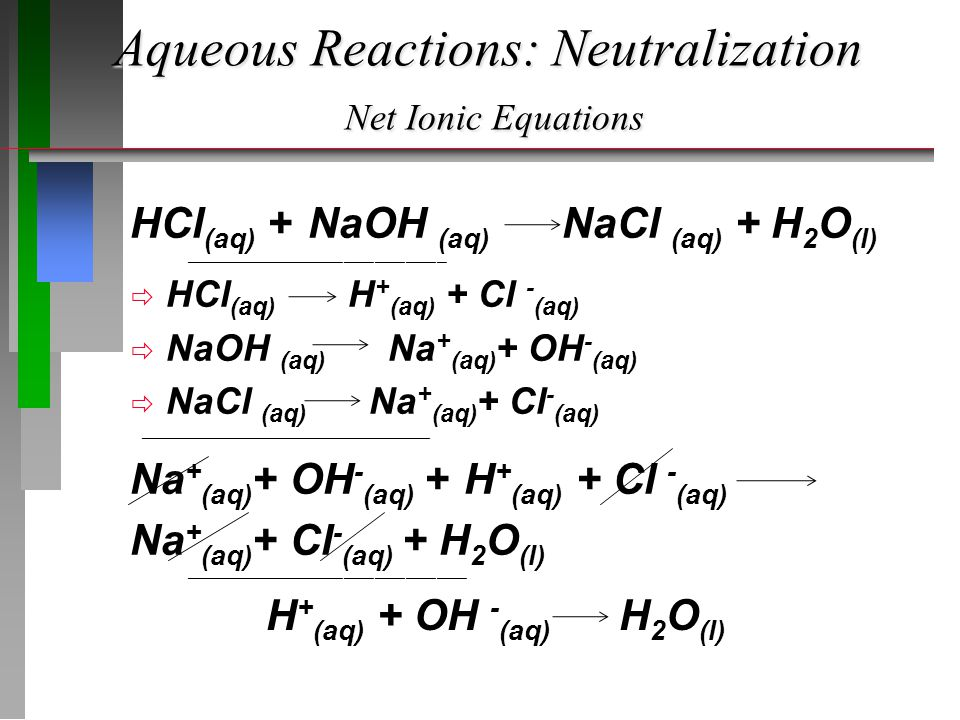 Aqueous Reactions: Neutralization Net Ionic Equations