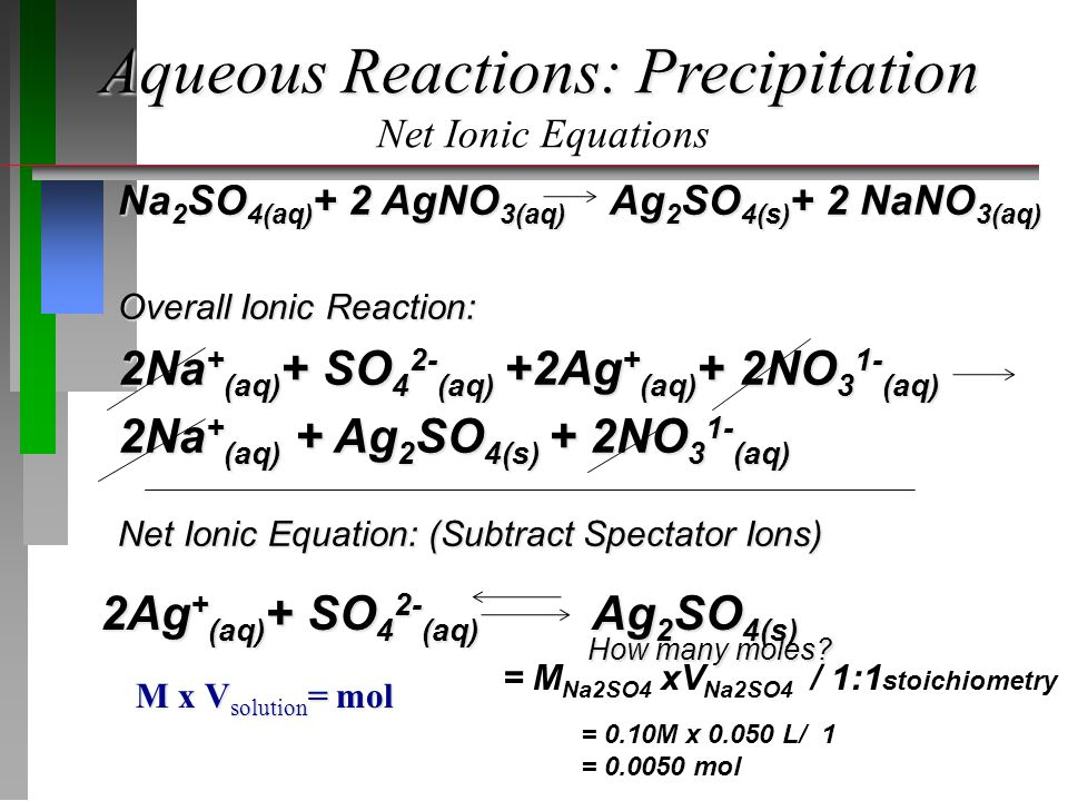 Aqueous Reactions: Precipitation