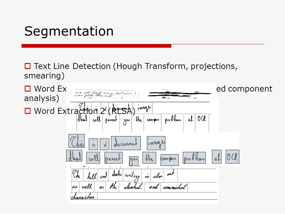 Segmentation Text Line Detection (Hough Transform, projections, smearing) Word Extraction (vertical projections, connected component analysis)