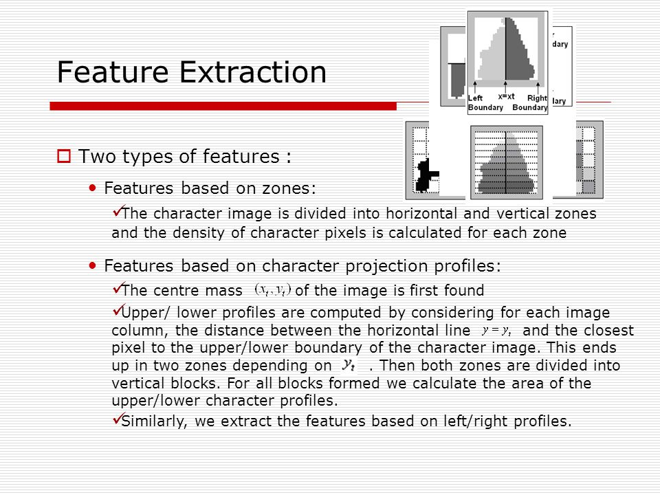 Feature Extraction Two types of features : Features based on zones: