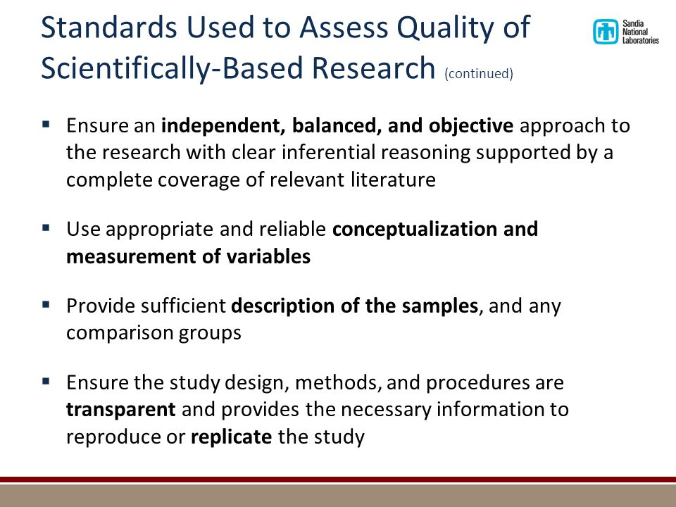 Standards Used to Assess Quality of Scientifically-Based Research