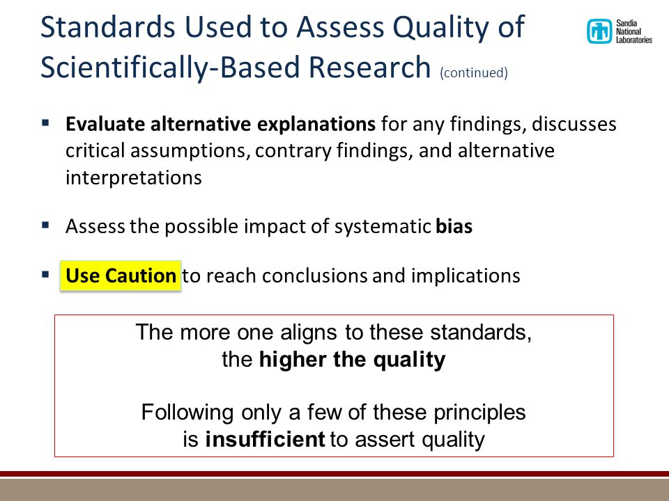 Standards Used to Assess Quality of Scientifically-Based Research (continued)