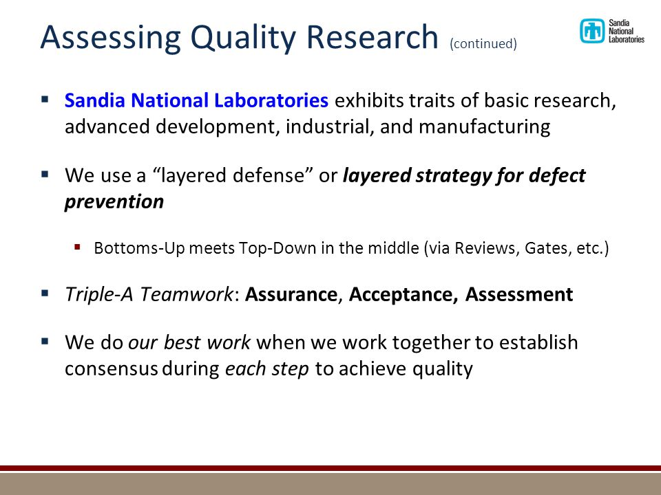 Assessing Quality Research (continued)