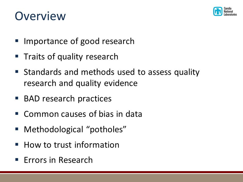 Principles for Quality Research and Quality Evidence