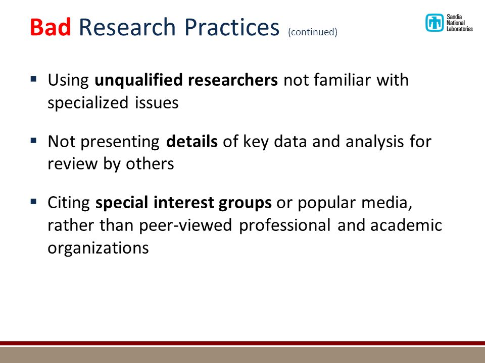 Bad Research Practices (continued)