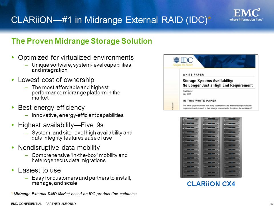 CLARiiON—#1 in Midrange External RAID (IDC)*