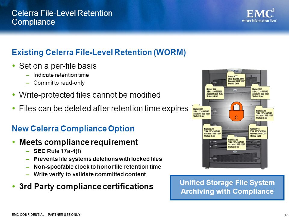 Celerra File-Level Retention Compliance