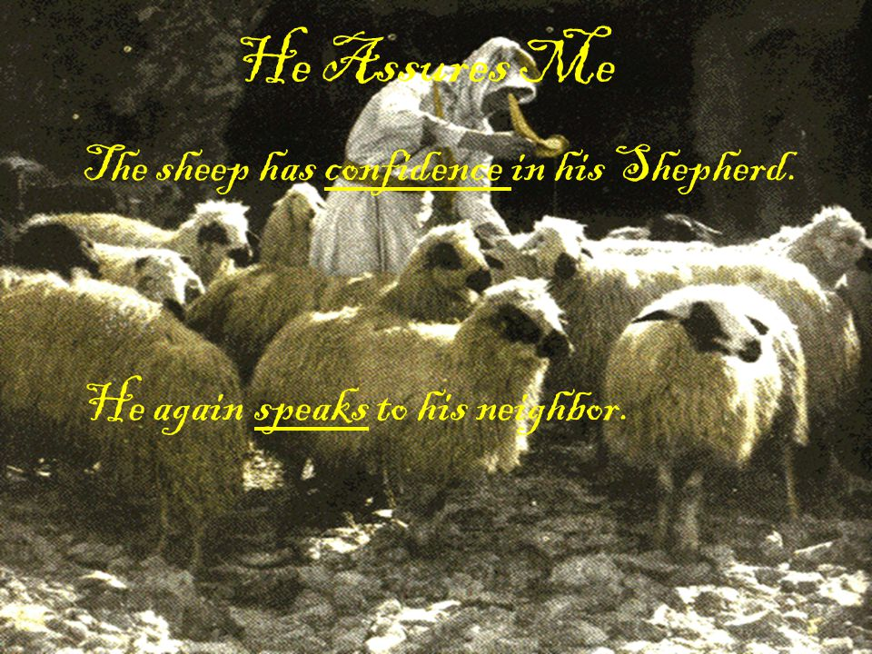 He Assures Me The sheep has confidence in his Shepherd.