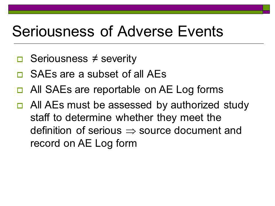 Seriousness of Adverse Events