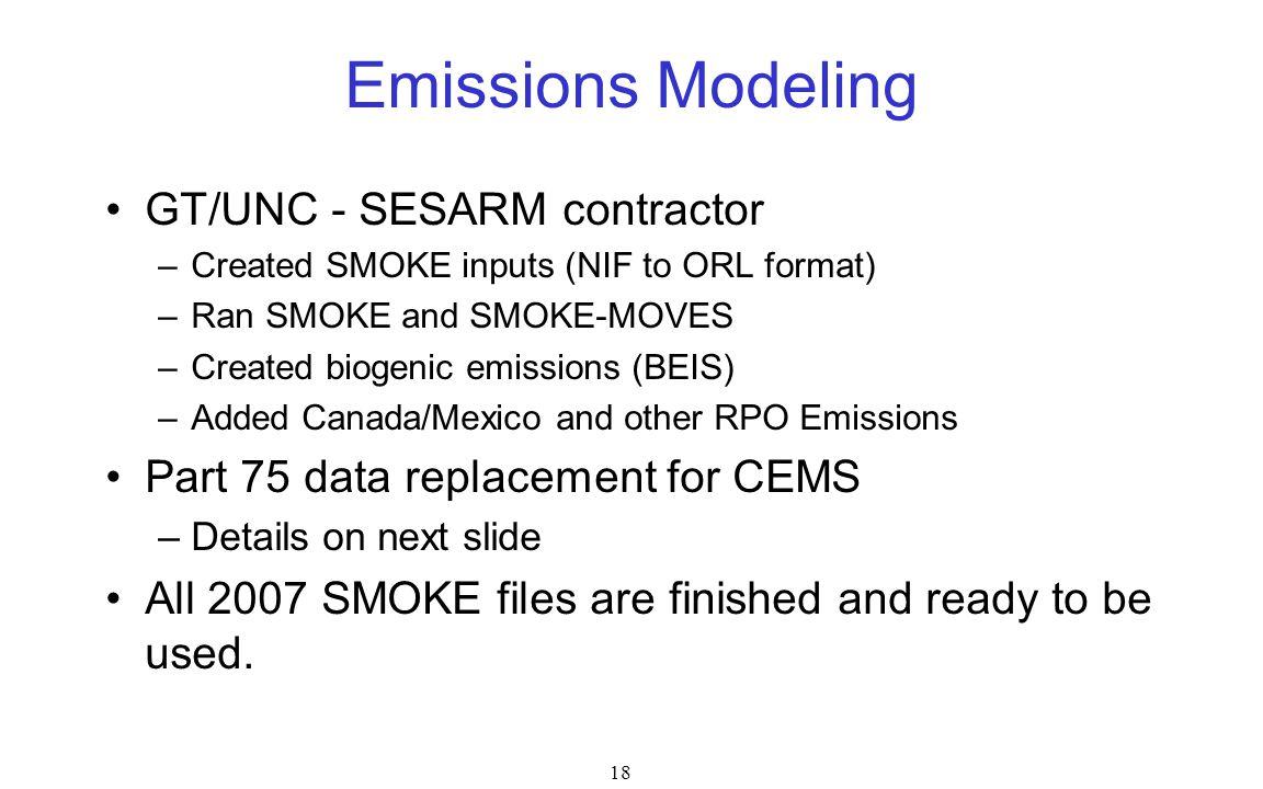 Emissions Modeling GT/UNC - SESARM contractor