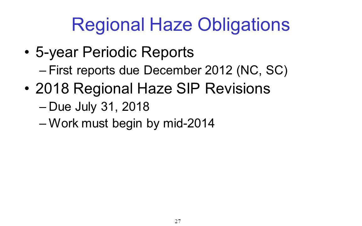 Regional Haze Obligations
