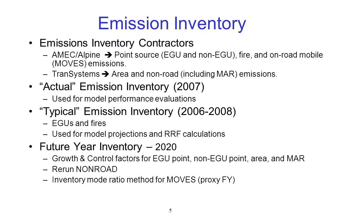 Emission Inventory Emissions Inventory Contractors