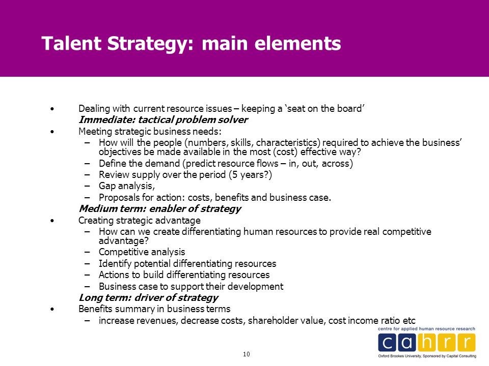 Talent Strategy: main elements