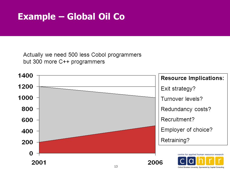Example – Global Oil Co Actually we need 500 less Cobol programmers but 300 more C++ programmers. Resource Implications: