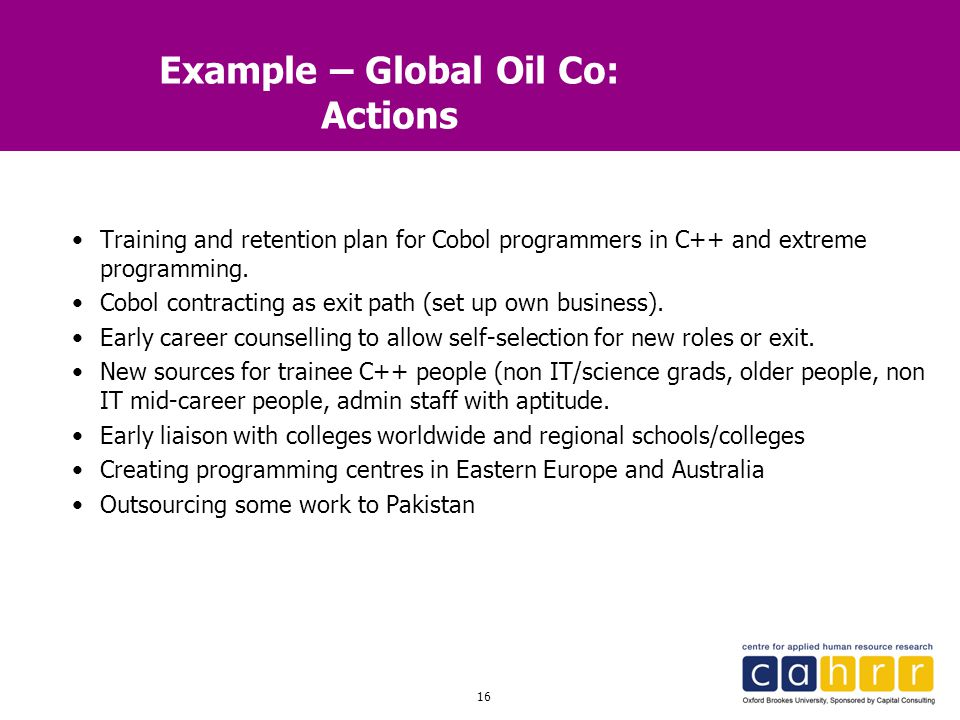Example – Global Oil Co: Actions