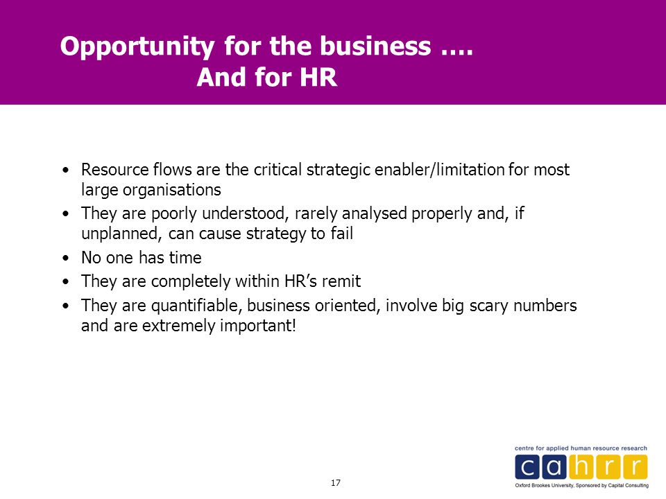 Opportunity for the business …. And for HR