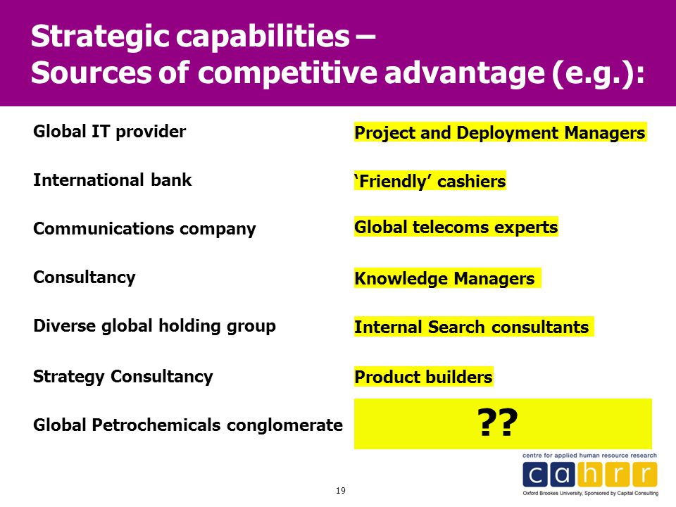 Strategic capabilities – Sources of competitive advantage (e.g.):