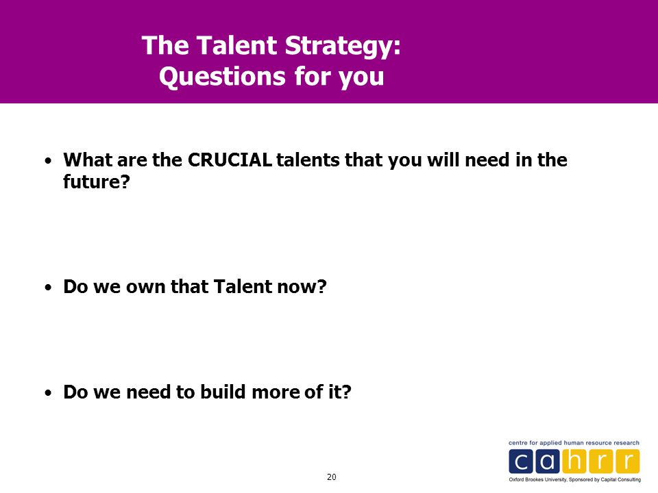 The Talent Strategy: Questions for you