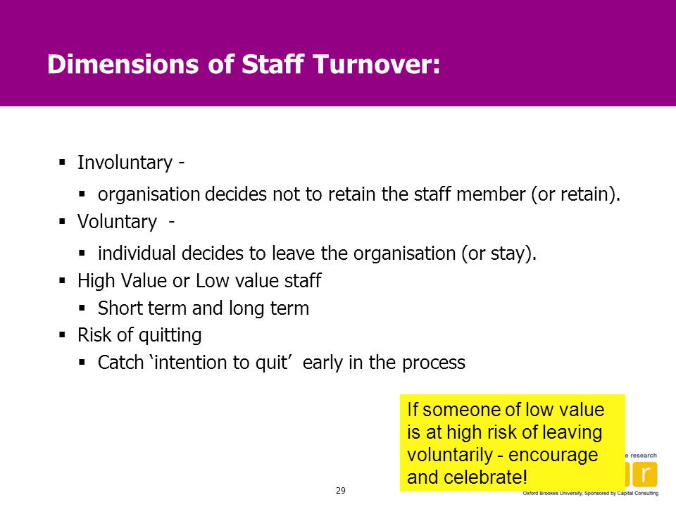 Dimensions of Staff Turnover: