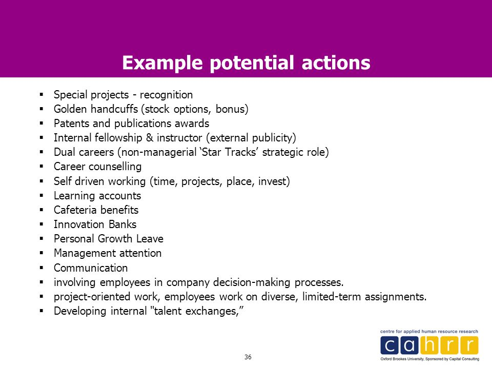 Example potential actions