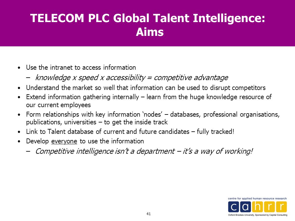 TELECOM PLC Global Talent Intelligence: Aims