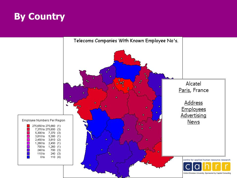 By Country Alcatel Paris, France Address Employees Advertising News