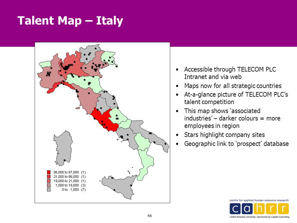 Talent Map – Italy Accessible through TELECOM PLC Intranet and via web