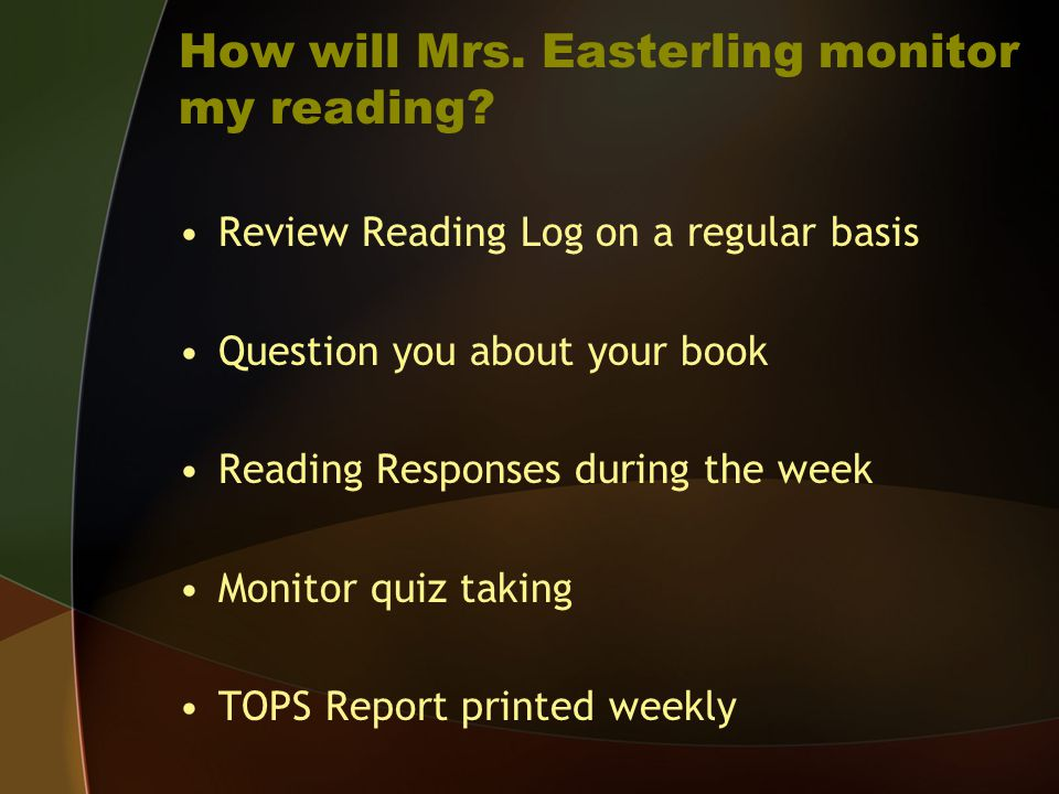 How will Mrs. Easterling monitor my reading
