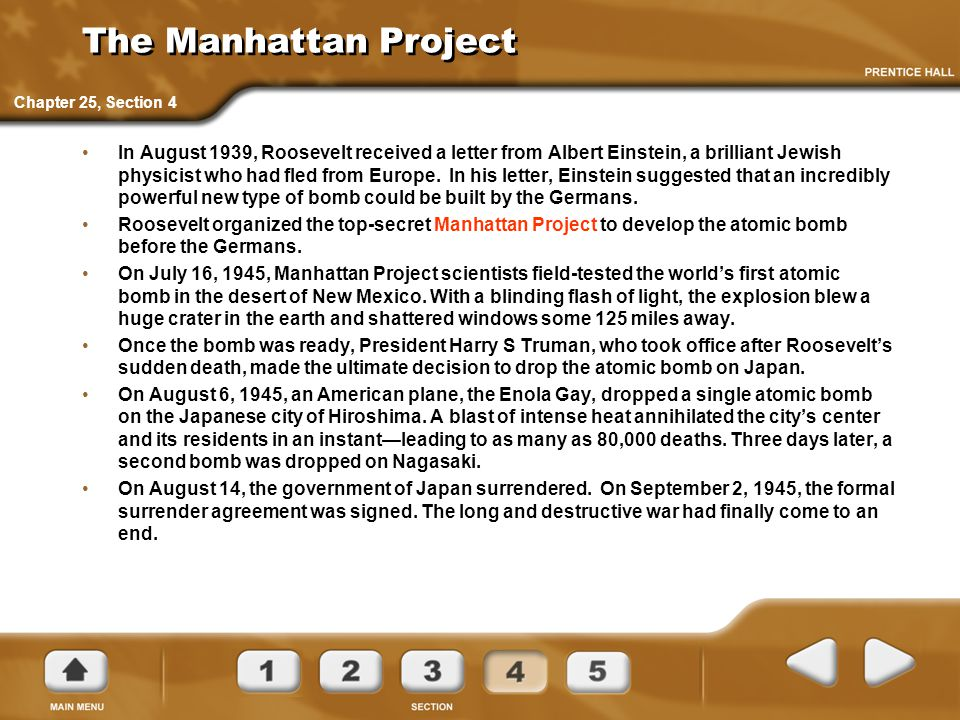 The Manhattan Project Chapter 25, Section 4.