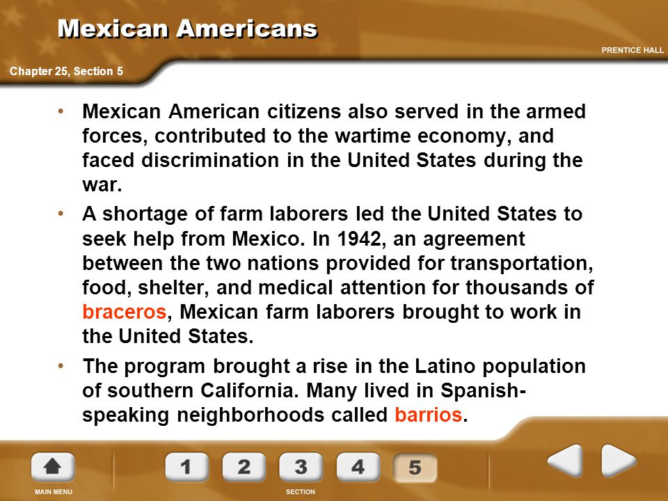 Mexican Americans Chapter 25, Section 5.