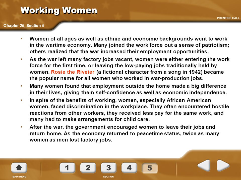 Working Women Chapter 25, Section 5.