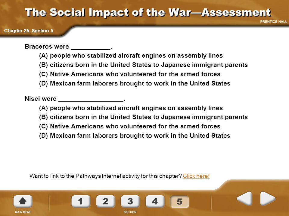 The Social Impact of the War—Assessment