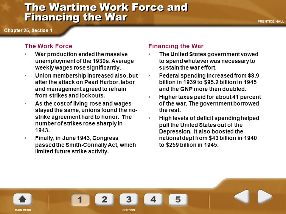 The Wartime Work Force and Financing the War
