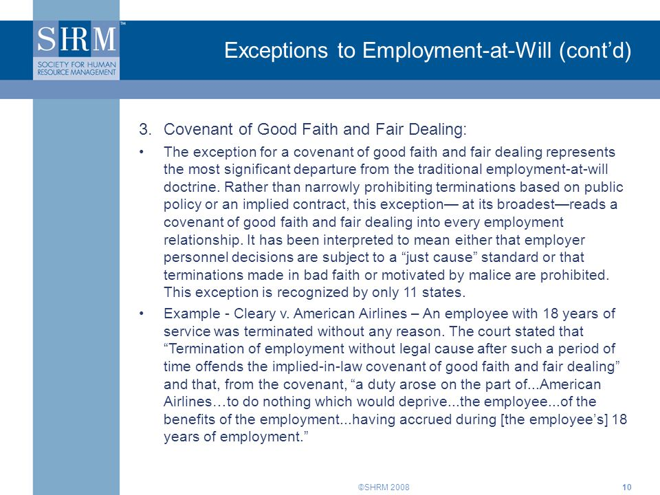 Exceptions to Employment-at-Will (cont'd)