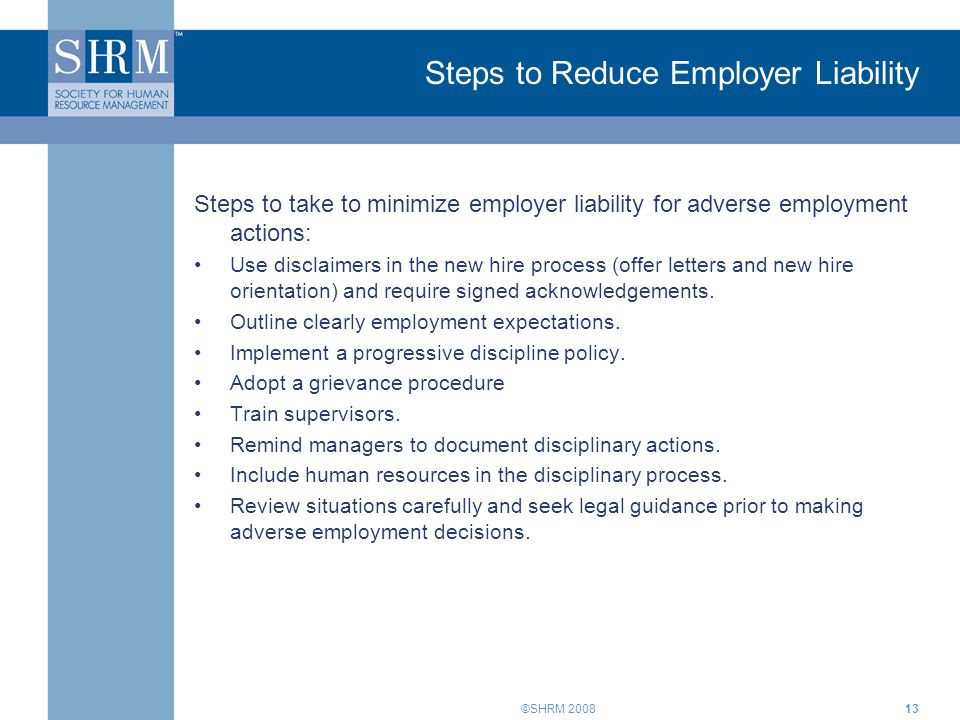 Steps to Reduce Employer Liability