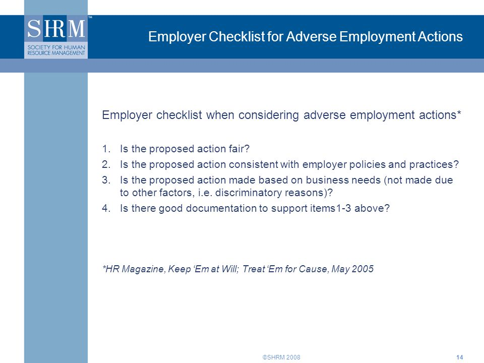 Employer Checklist for Adverse Employment Actions